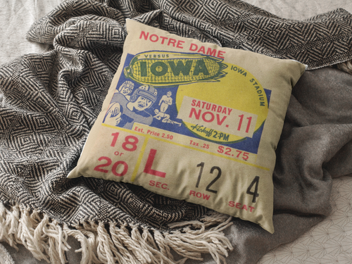 1939 Iowa Hawkeyes Vintage Ticket Burlap Pillow