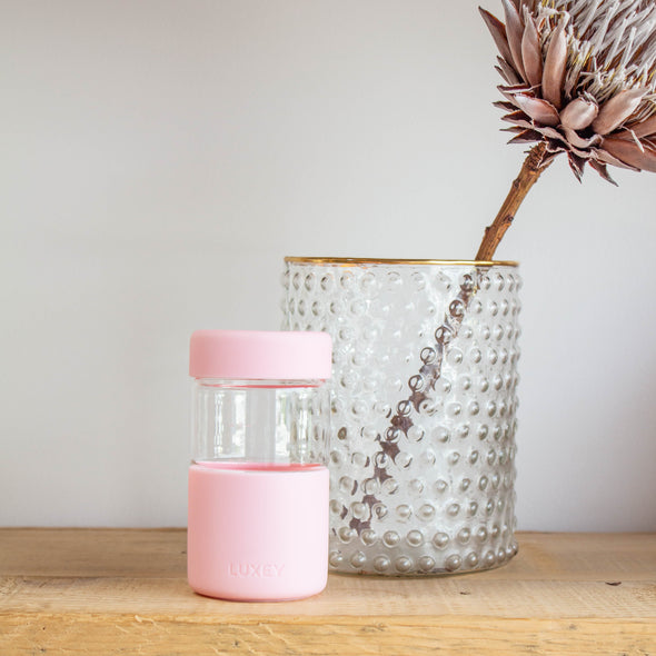 Blush OriginalLUX Luxey Cup ( 12oz ) Large Size Reusable Glass Coffee Cup