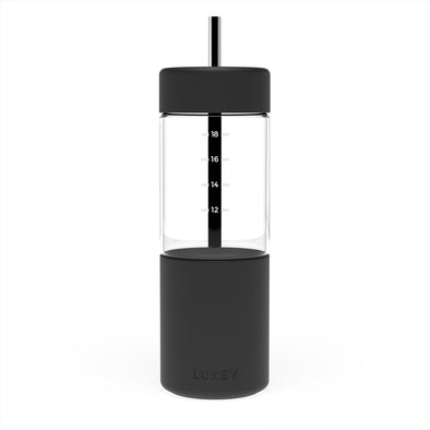 Black Luxey Reusable Glass Smoothie Cup