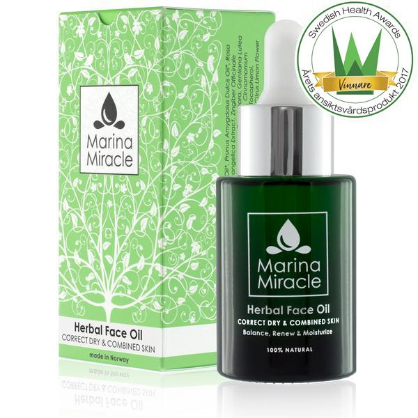 All natural face oil with herbs. The dark green glass bottle saves the product from UV light.