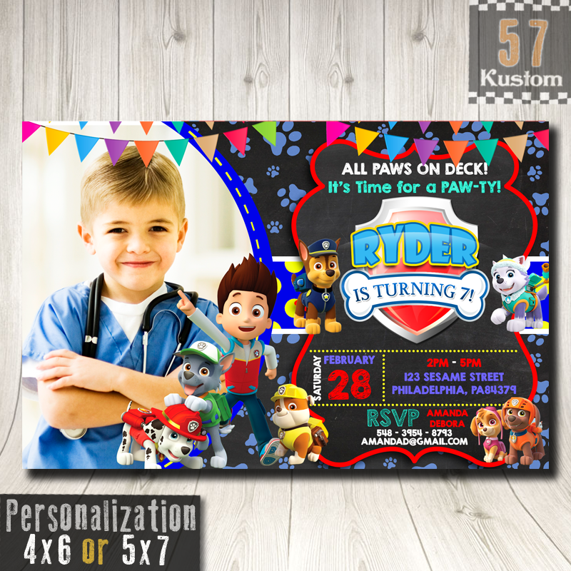 Paw Patrol Birthday Invitation With Photo Invitations Party