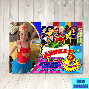 Supergirl Birthday Invitation With Photo Superhero Dc Comics