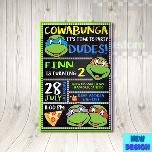 Tmnt Birthday Invitation Tmnt Invitations Party Teenage Mutant