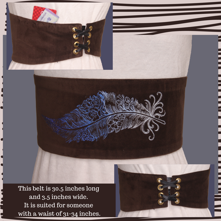 Lace up Embroidered Belts with Pockets