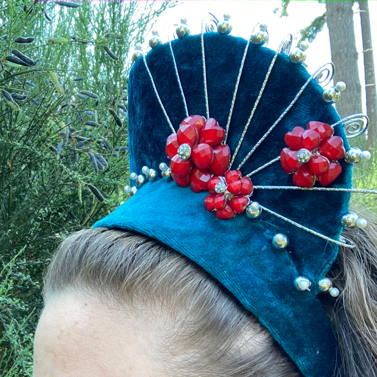 Teal & Red Headpiece with Matching Earrings