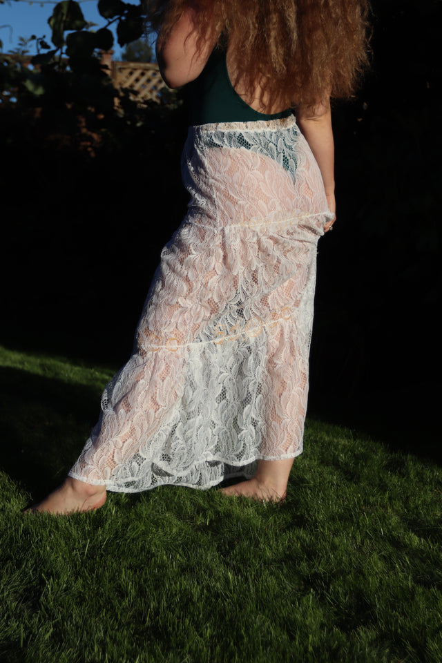 Embroidered Lace Tiered Skirt (Custom Size)