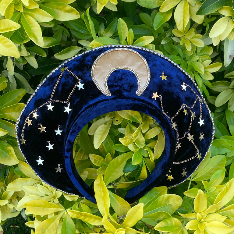 Moon & Stars Headpiece with Matching Earrings and Mask