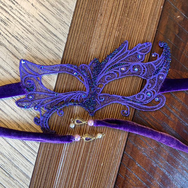 Purple Beaded Masquerade Mask (with matching pandemic mask)