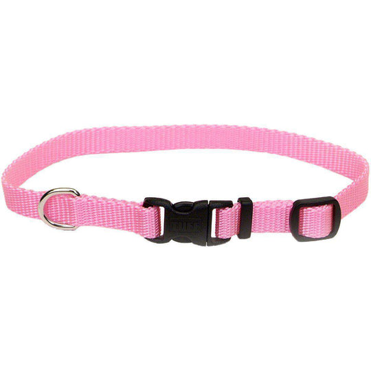 "Adjustable Nylon 3/8"" Dog Collar W/Tuff Buckle-Pink Bright, Neck Size 8""-12""-Coastal Pet Products-DirtyFurClothing"