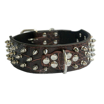 Adjustable Pu Leather Spiked Studded Dog Collar Pet Collar(16~19 In, Brown)-Panda Superstore-DirtyFurClothing