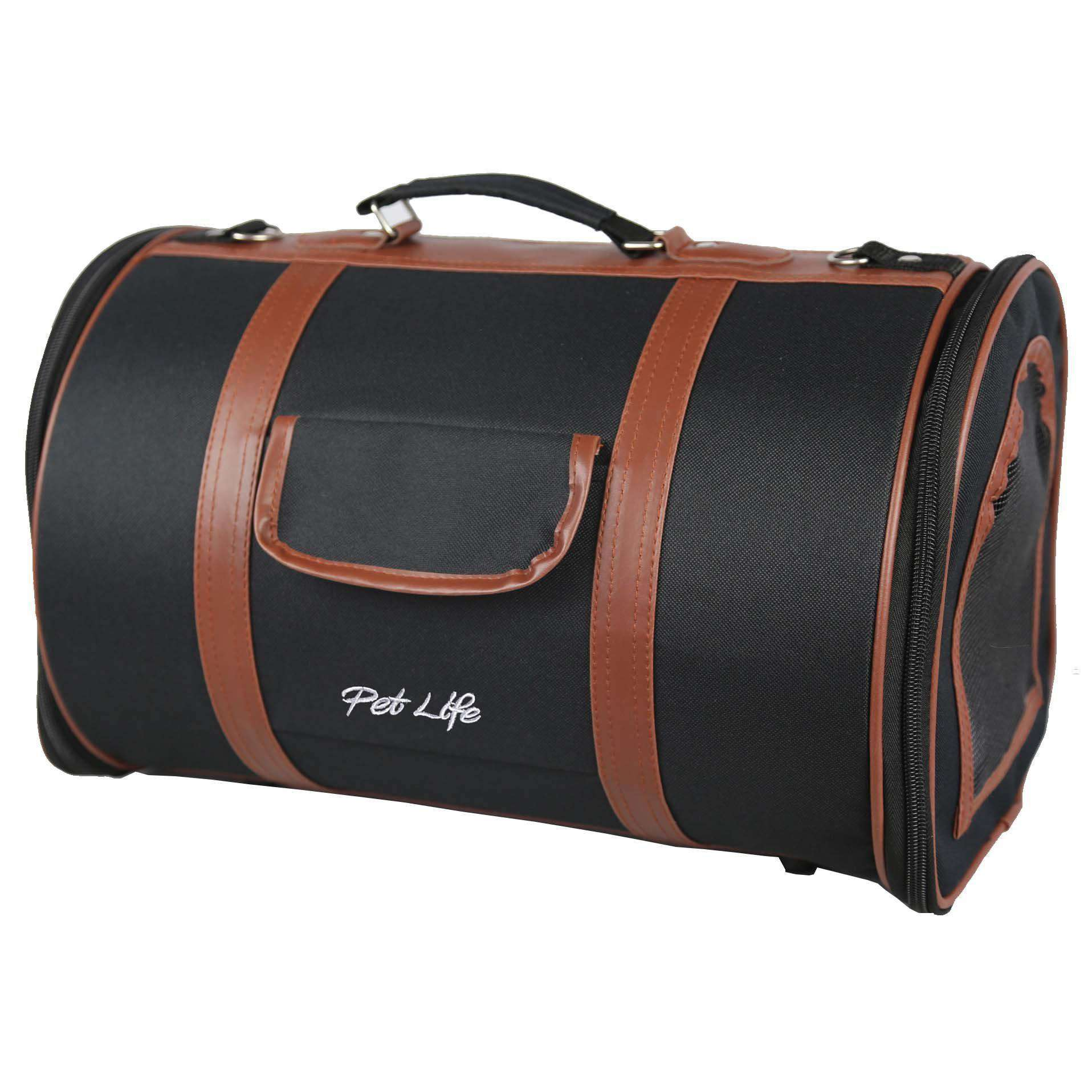 Airline Approved Fashion Cylinder Posh Pet Carrier- Dark Blue-Brown-Pet Life-DirtyFurClothing