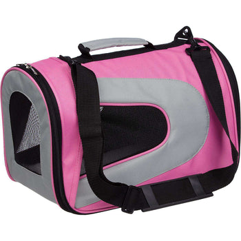 Airline Approved Folding Zippered Sporty Mesh Pet Carrier - Pink & Cream-Pet Life-DirtyFurClothing