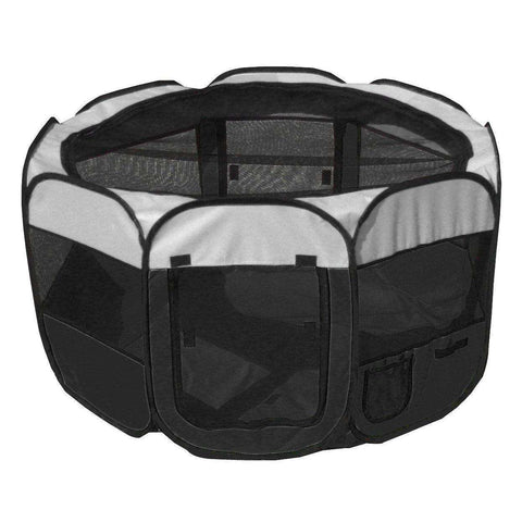 All-Terrain' Lightweight Easy Folding Wire-Framed Collapsible Travel Pet Playpen- Black And White-Pet Life-DirtyFurClothing