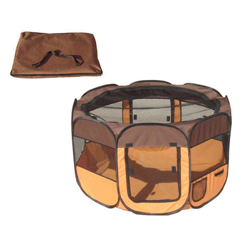 All-Terrain' Lightweight Easy Folding Wire-Framed Collapsible Travel Pet Playpen- Brown And Orange-Pet Life-DirtyFurClothing