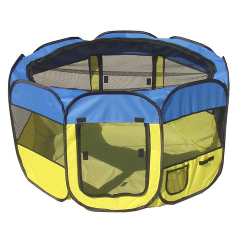 All-Terrain' Lightweight Easy Folding Wire-Framed Collapsible Travel Pet Playpen- Light Blue And Light Yellow-Pet Life-DirtyFurClothing