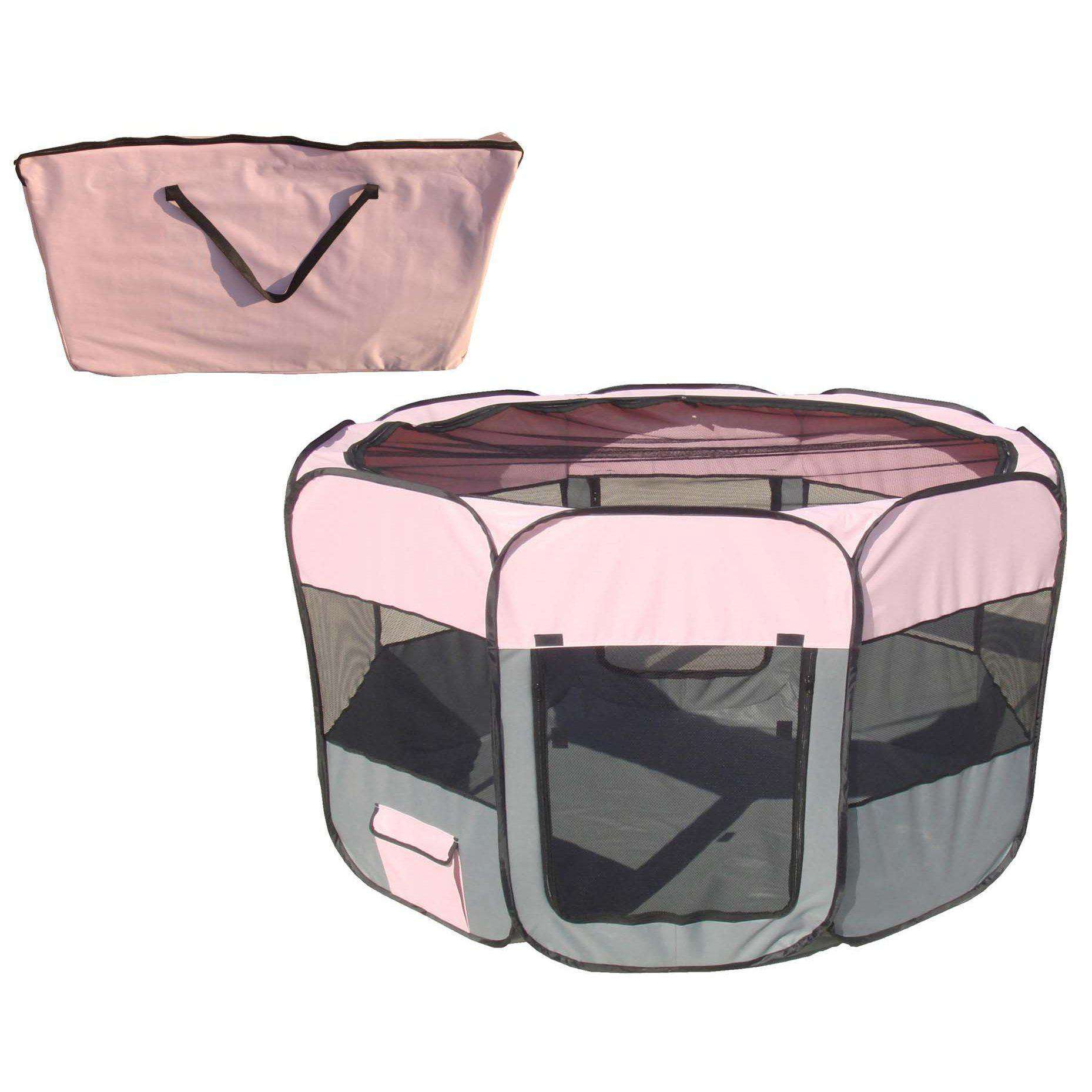 All-Terrain' Lightweight Easy Folding Wire-Framed Collapsible Travel Pet Playpen- Pink And Grey-Pet Life-DirtyFurClothing