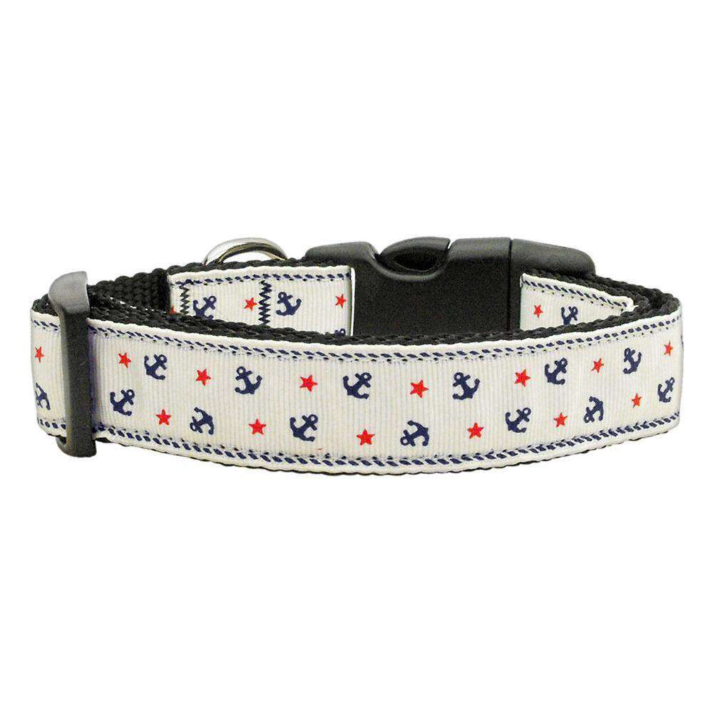 Anchors Nylon Ribbon Collar White Large-Mirage Pet Products-DirtyFurClothing