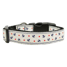 Anchors Nylon Ribbon Collar White Medium-Mirage Pet Products-DirtyFurClothing