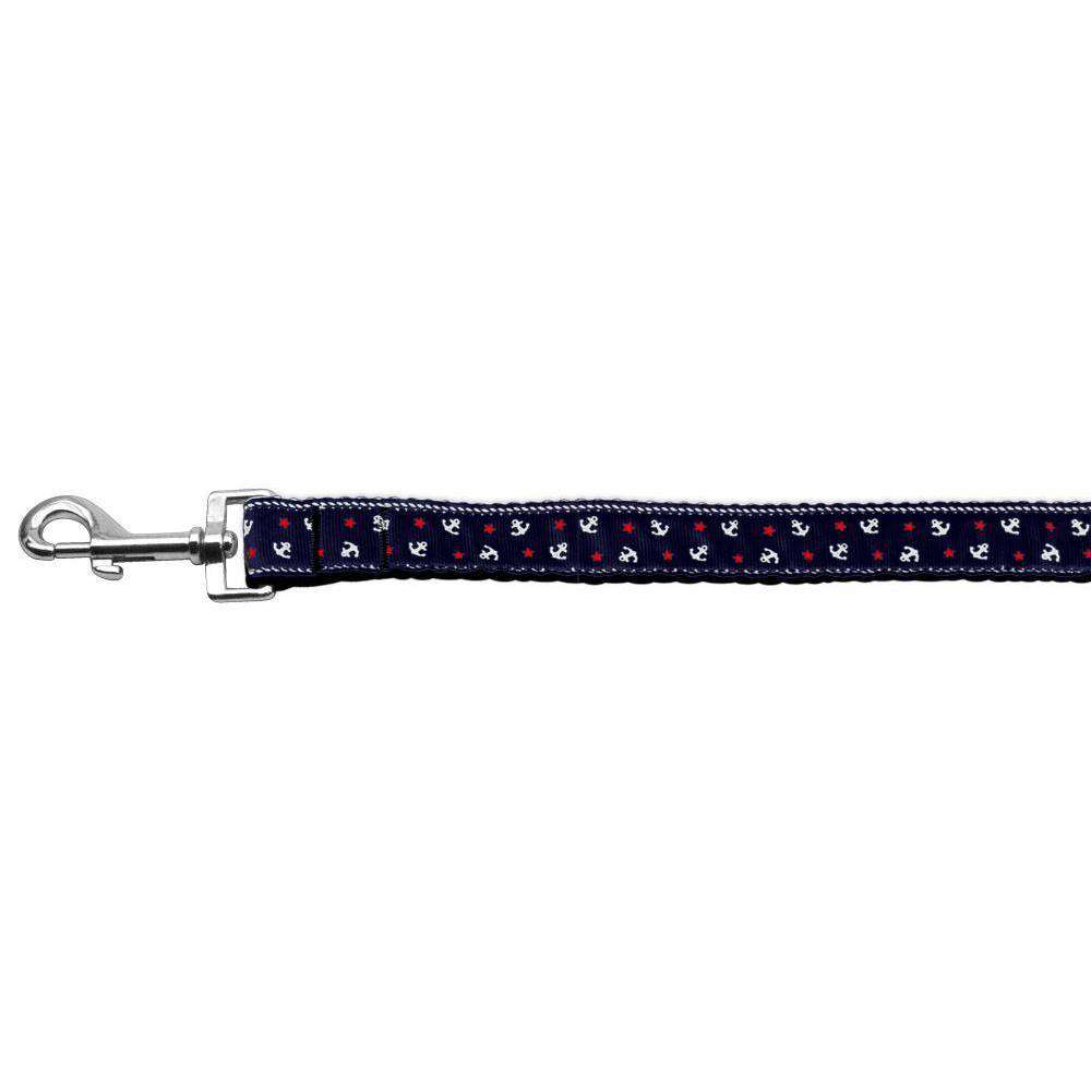 Anchors Nylon Ribbon Leash Blue 1 Inch Wide 6ft Long-Mirage Pet Products-DirtyFurClothing