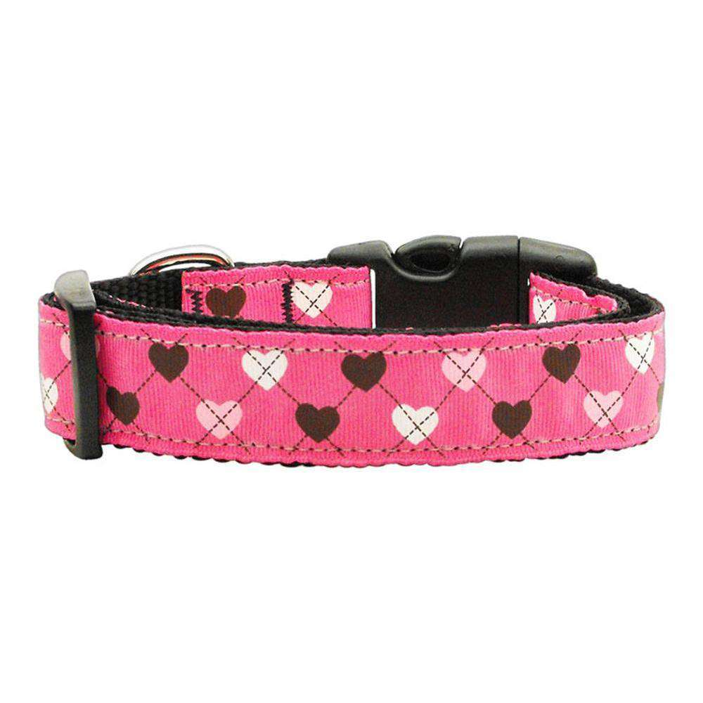 Argyle Hearts Nylon Ribbon Collar Bright Pink Medium-Mirage Pet Products-DirtyFurClothing