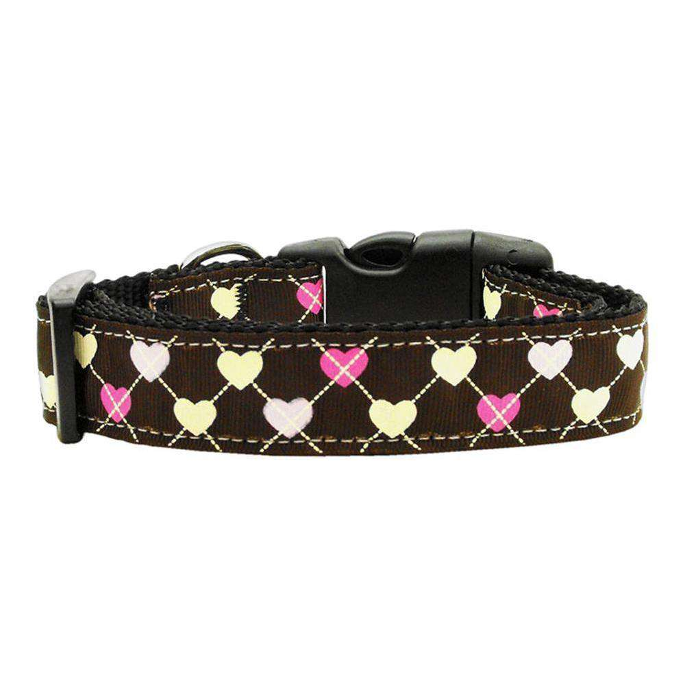 Argyle Hearts Nylon Ribbon Collar Brown Large-Mirage Pet Products-DirtyFurClothing