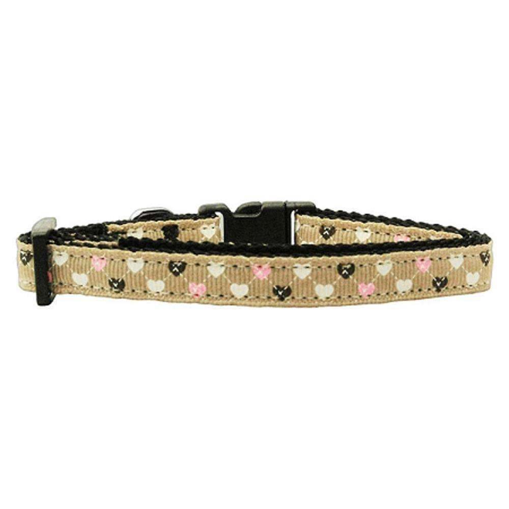 Argyle Hearts Nylon Ribbon Collar Tan X-small-Mirage Pet Products-DirtyFurClothing