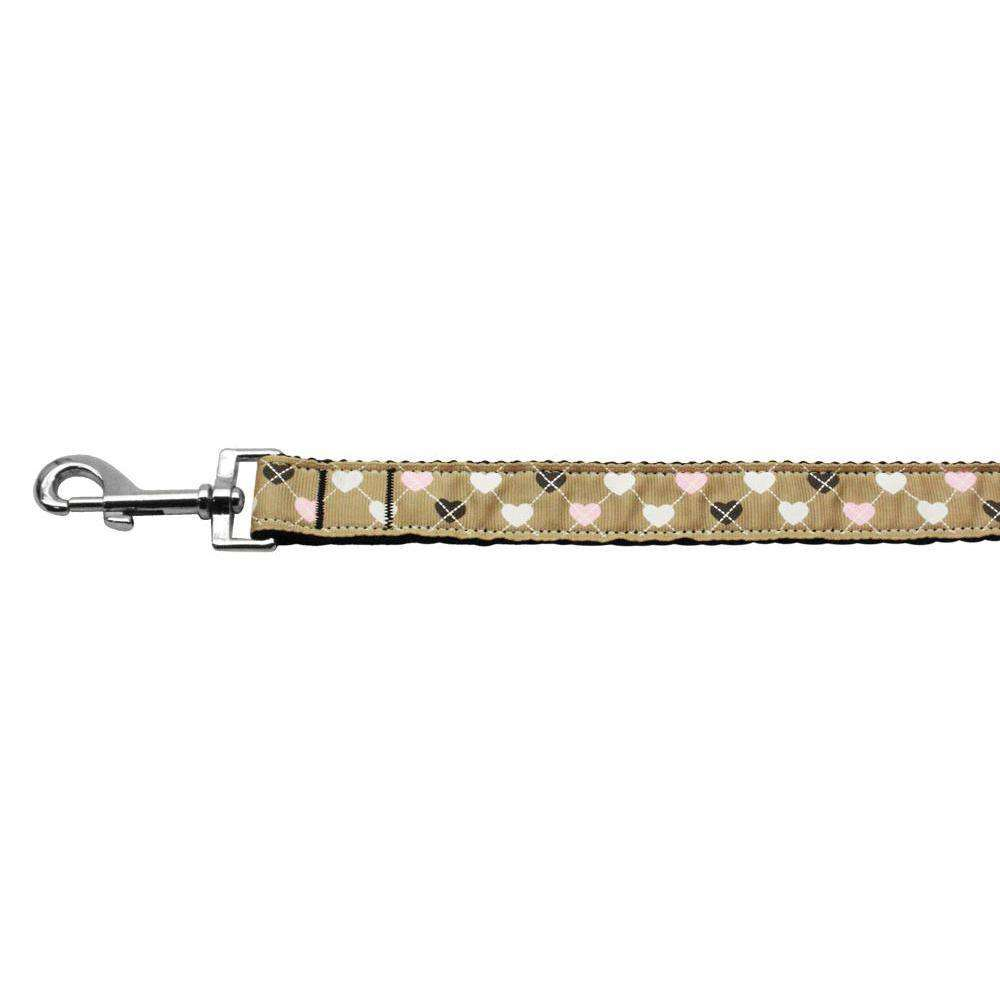 Argyle Hearts Nylon Ribbon Leash Tan 1 Inch Wide 6ft Long-Mirage Pet Products-DirtyFurClothing