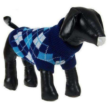 Argyle Style Fashion Pet Sweater - Black/Blue Argyle-Pet Life-DirtyFurClothing
