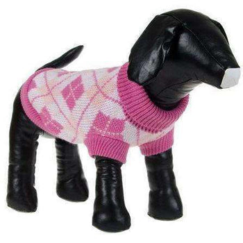 Argyle Style Fashion Pet Sweater - Pink Argyle-Pet Life-DirtyFurClothing