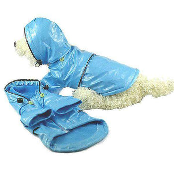 Baby Blue Pvc Waterproof Adjustable Pet Raincoat - Light Blue-Pet Life-DirtyFurClothing