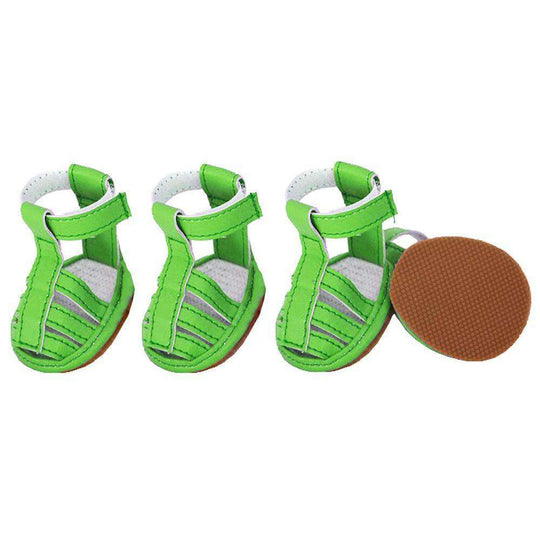 Buckle-Supportive Pvc Waterproof Pet Sandals Shoes - Set Of 4- Neon Green-Pet Life-DirtyFurClothing