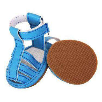 Buckle-Supportive Pvc Waterproof Pet Sandals Shoes - Set Of 4- Ocean Blue-Pet Life-DirtyFurClothing
