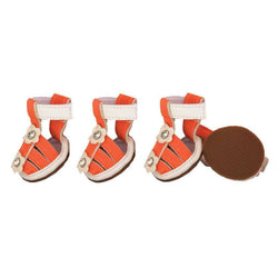 Buckle-Supportive Pvc Waterproof Pet Sandals Shoes - Set Of 4- Orange-Pet Life-DirtyFurClothing
