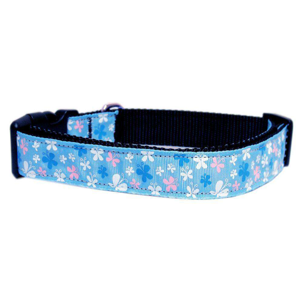 Butterfly Nylon Ribbon Collar Blue Medium-Mirage Pet Products-DirtyFurClothing