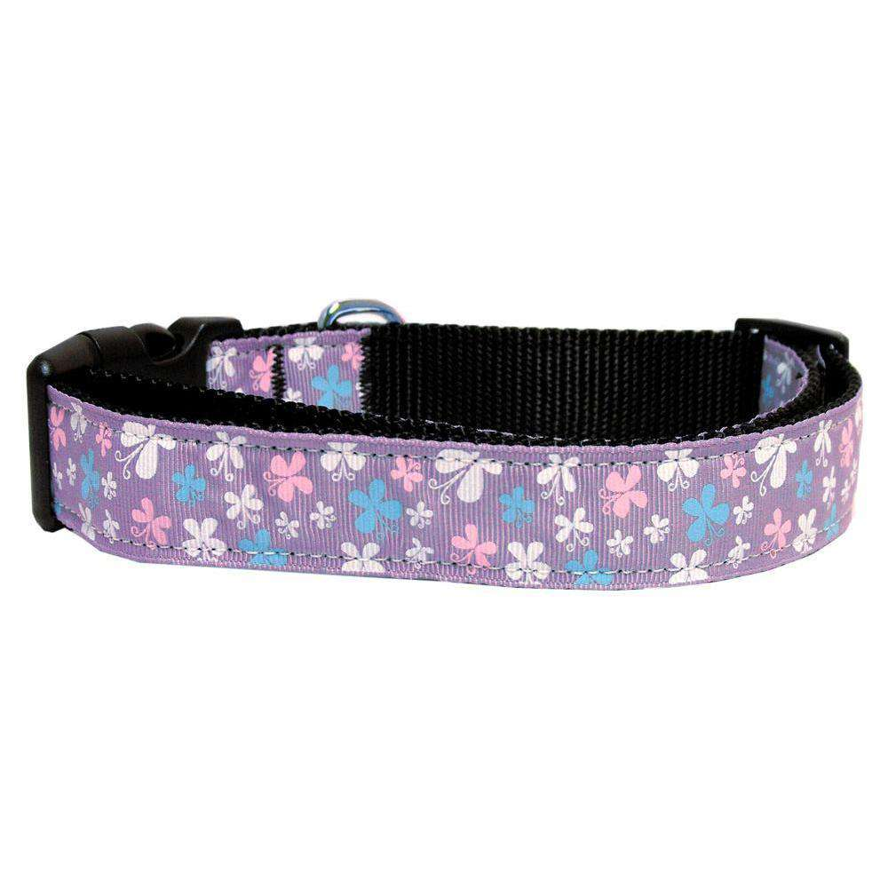 Butterfly Nylon Ribbon Collar Lavender Large-Mirage Pet Products-DirtyFurClothing
