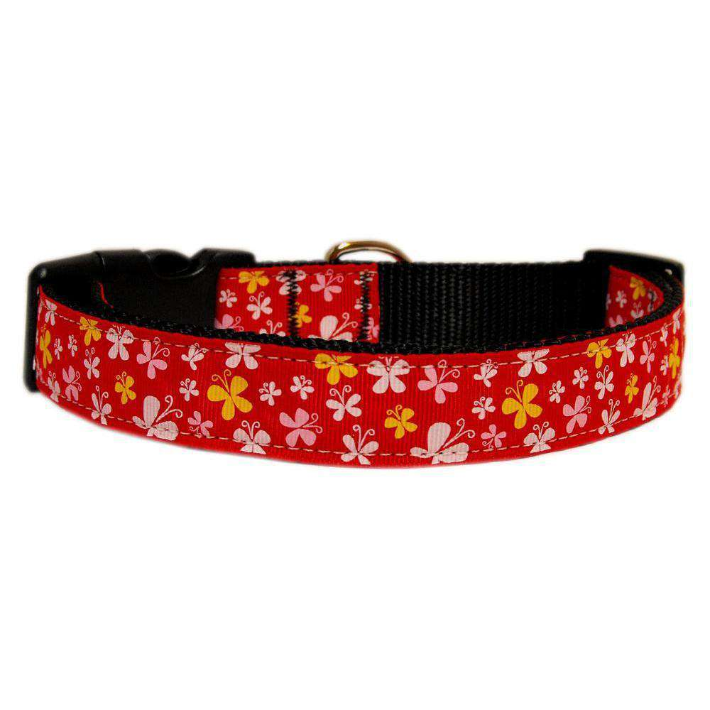 Butterfly Nylon Ribbon Collar Red Xs-Mirage Pet Products-DirtyFurClothing
