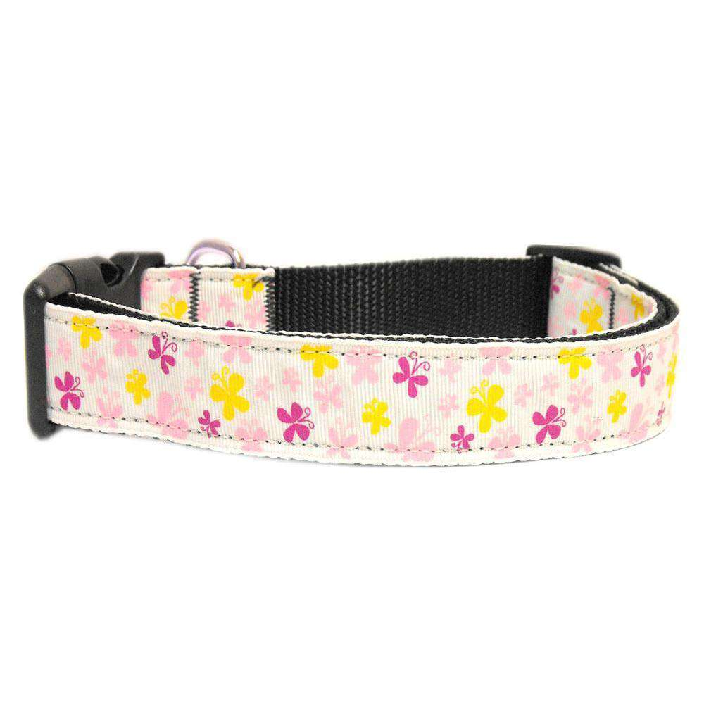 Butterfly Nylon Ribbon Collar White Large-Mirage Pet Products-DirtyFurClothing