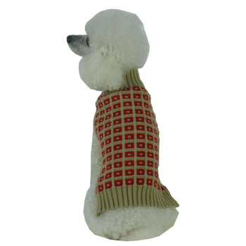 Butterscotch Box Weaved Heavy Cable Knitted Designer Turtle Neck Dog Sweater-Pet Life-DirtyFurClothing