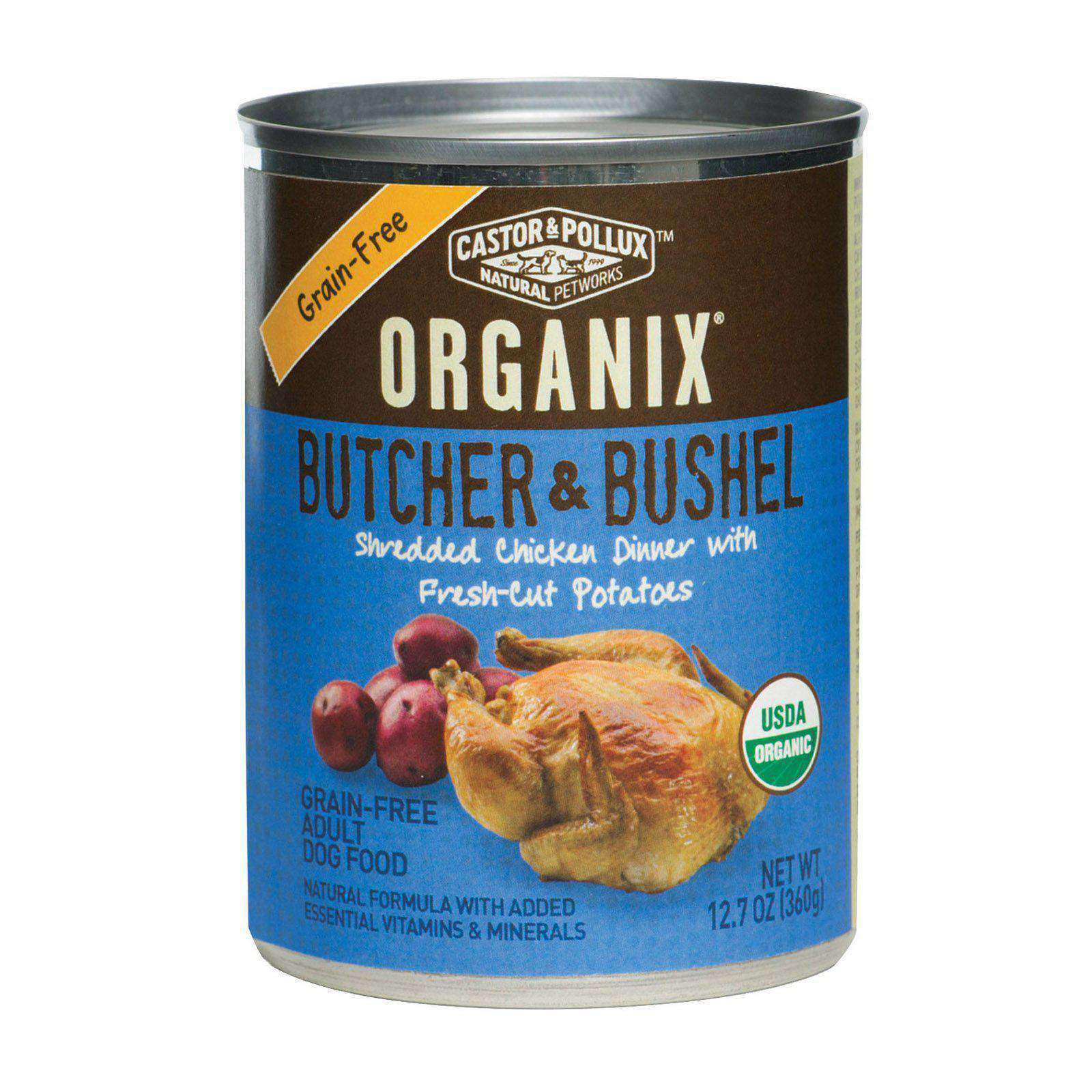 Castor And Pollux Organic Butcher And Bushel Canned Dog Food - Shredded Chicken - Case Of 12 - 12.7 Oz.-Castor & Pollux-DirtyFurClothing