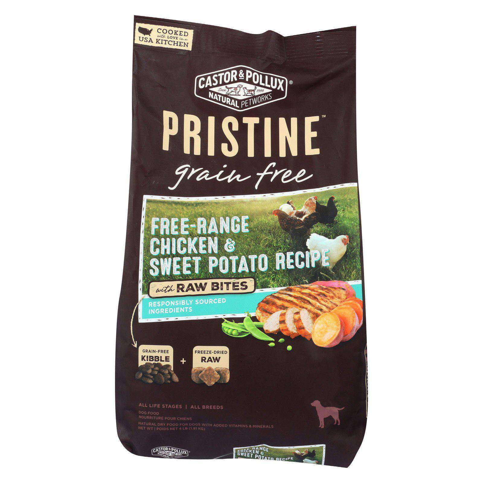 Castor And Pollux Pristine Grain Free Dry Dog Food - Chicken & Sweet Potato - Case Of 5 - 4 Lb.-Castor and Pollux-DirtyFurClothing