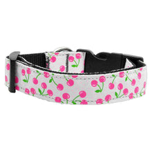Cherries Nylon Collar White Large-Mirage Pet Products-DirtyFurClothing