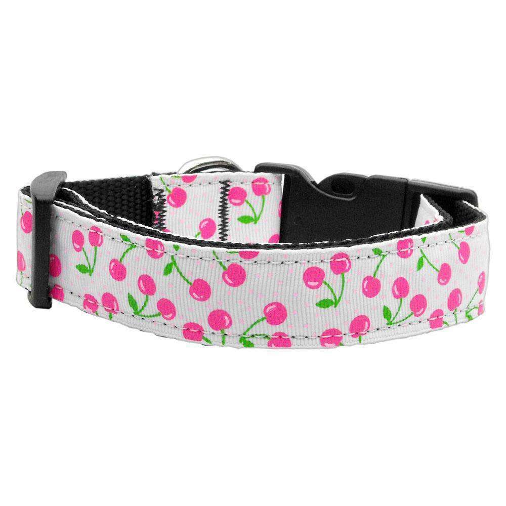 Cherries Nylon Collar White Sm-Mirage Pet Products-DirtyFurClothing