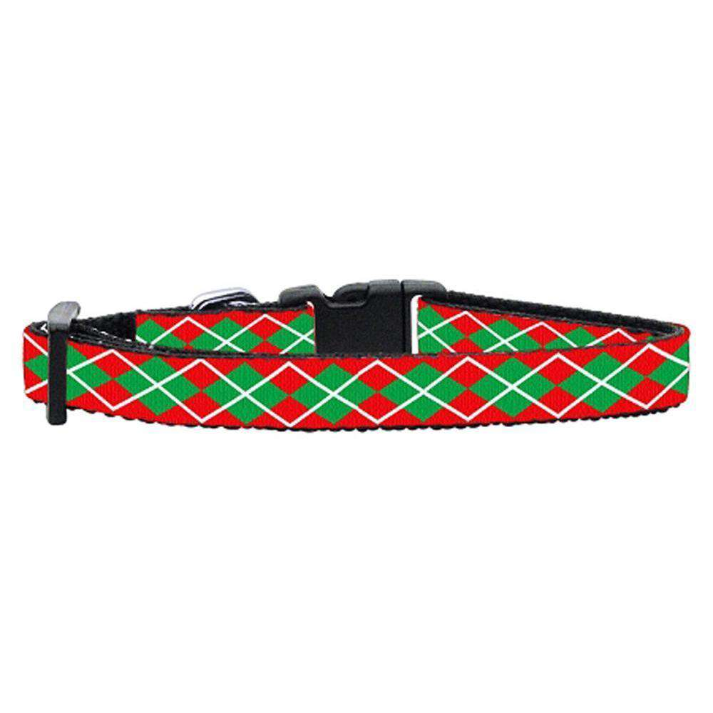 Christmas Argyle Nylon Ribbon Collar X-small-Mirage Pet Products-DirtyFurClothing