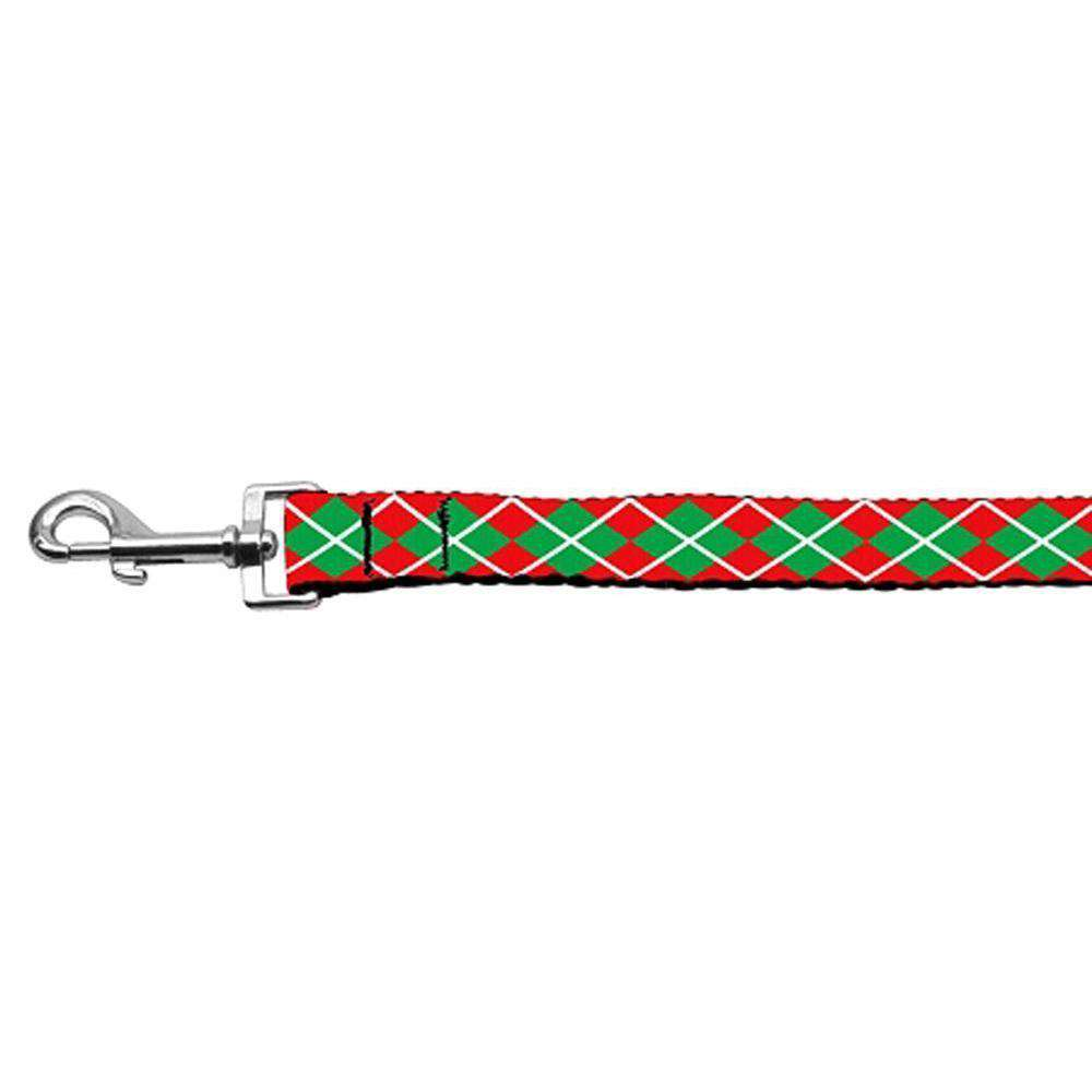 Christmas Argyle Nylon Ribbon Leash 1 Inch Wide 6ft Long-Mirage Pet Products-DirtyFurClothing