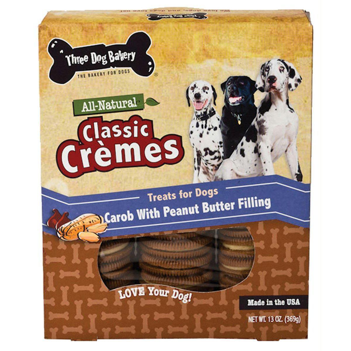 Classic Cremes All Natural Carob Cookies With Peanut Butter Filling Dog Treats 13Oz-Three Dog Bakery-DirtyFurClothing