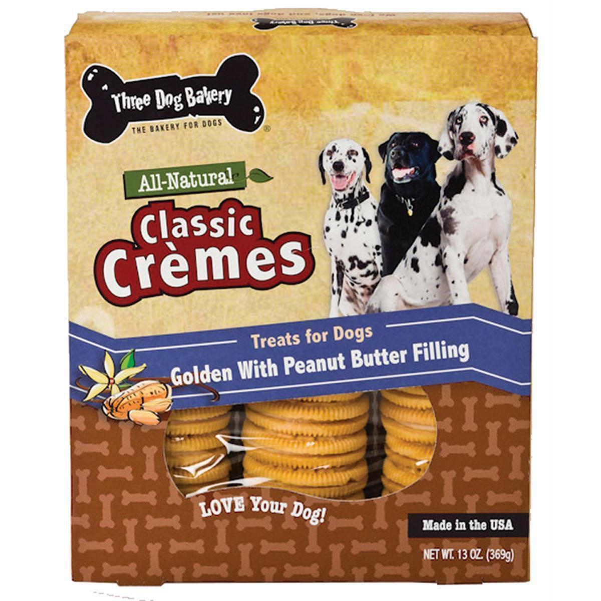 Classic Cremes All Natural Golden Cookies With Peanut Butter Filling Dog Treats 13Oz-Three Dog Bakery-DirtyFurClothing