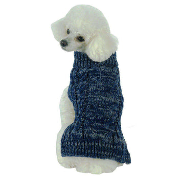 Classic True Blue Heavy Cable Knitted Fashion Dog Sweater-Pet Life-DirtyFurClothing