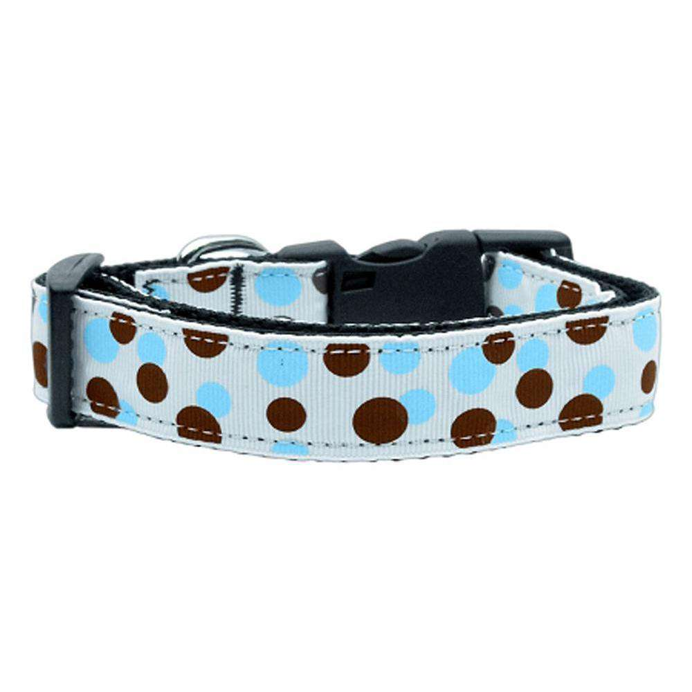 Confetti Dots Nylon Collar Baby Blue Large-Mirage Pet Products-DirtyFurClothing