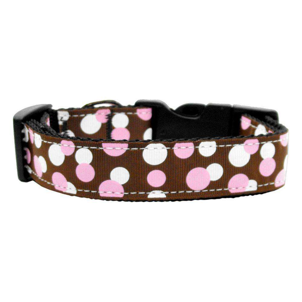 Confetti Dots Nylon Collar Chocolate Medium-Mirage Pet Products-DirtyFurClothing