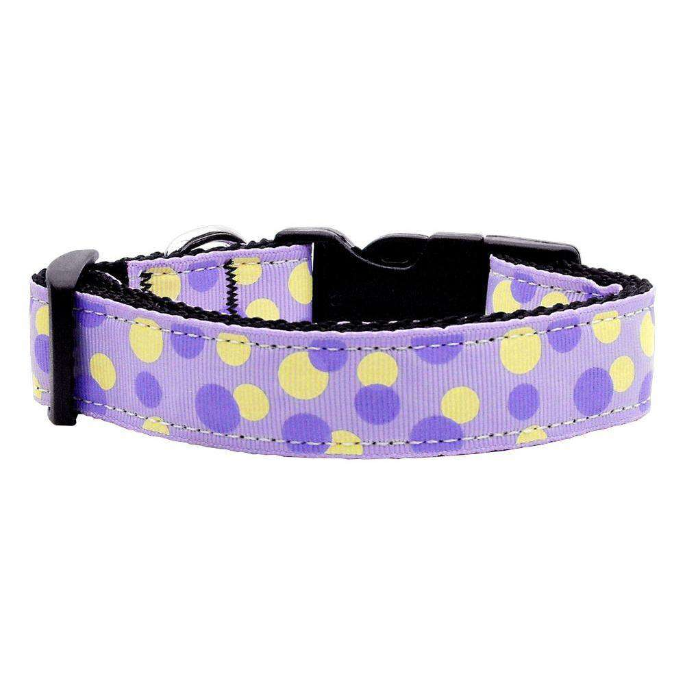 Confetti Dots Nylon Collar Lavender Medium-Mirage Pet Products-DirtyFurClothing